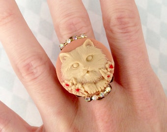 Cameo Adjustable ring pink cat blade and small flowers