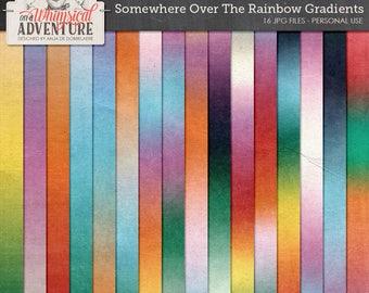 Rainbow digital scrapbooking papers, digital download, wizard of oz, gradient papers, rainbow gradient, ombre, paperpack, fairytale, dreams