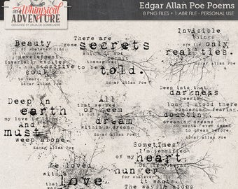 Edgar Allan Poe poems, grungy Photoshop brushes, ABR, digital download, gothic word art, stamps, digital scrapbooking elements, Halloween
