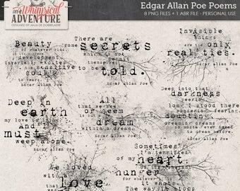 Edgar Allan Poe poems, grungy Photoshop brushes, ABR, digital download, gothic word art, stamps, digital scrapbooking elements, Halloween
