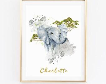 Animal Print, Name Print, Elephant Print, Personalized Print, Nursery Wall Art, Watercolor Print, Kids Room Print, Baby Room Print, D81-3