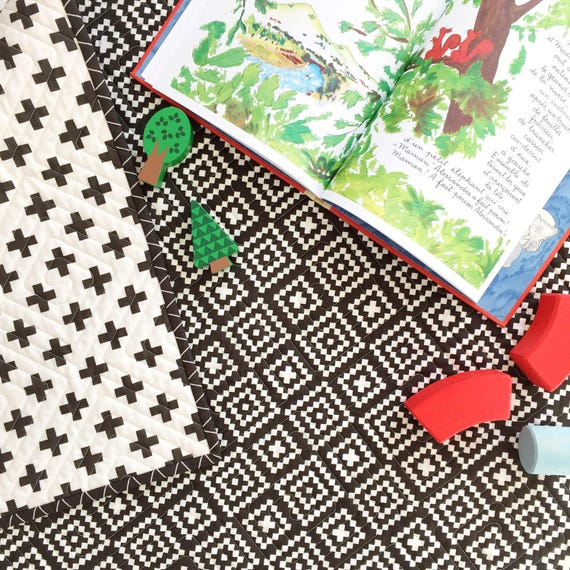 Nordic Wholecloth Baby Quilt with Lozenges and Cross in Carbon >> READY-to-SHIP black toddler quilt, plus baby quilt, diamond crib quilt