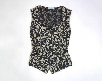 90s Parisian Vest Shirt // B.R.I.E.F.I.N.G en exclusivite pour les galeries Lafayette, Paris // Front Button TankTop // Scalloped Neckline