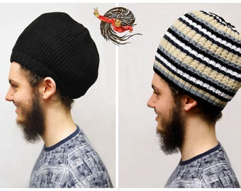 Reversible Black, Grey and Beige Dreadlock Knitted Hat