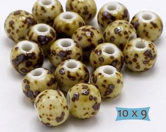 Ceramic Beads High Fired Leopard Spots Animal Print--10 Pcs | 2-10-YS20-10