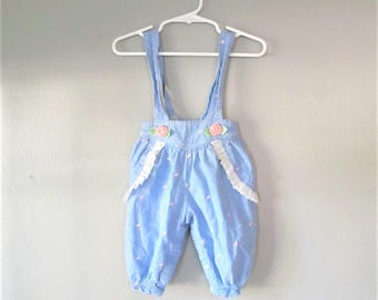 Vintage 1980's Cotton Blue Jean Baby Jumper / Blue Cotton Denim Infant Overall Halter Shorts Size 3-6 Months