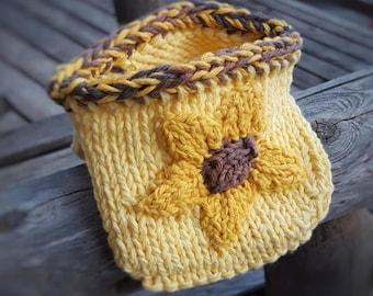 Handmade Pot Holder, Knitted Sunflower Oven Mitt,  All-Natural USA Yellow Cotton, Housewarming, Kitchen, Cooking, Baking, Serving, IN-STOCK