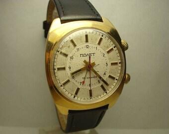 Poljot Signal 18 jewels AU Gold Plated men wrist watch Alarm USSR RARE Serviced