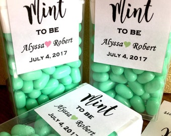 Tic Tac Favors - Mint to Be with Names, Hastag and Wedding Date