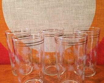 Vintage Atomic Starburst Juice Glasses, Set of 5, White and Gold Starburst Glasswear, Mid Century Modern Glasses, Water Tumblers