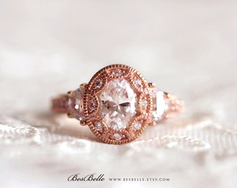 2.25 ct.tw Art Deco Engagement Ring-Oval Cut W/ Half Moon Stones-Vintage Inspired Ring-Anniversary-Rose Gold Plated-Sterling Silver [3950RG]