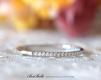 1.2mm Half Thin & Delicate Eternity Ring-0.27 ct.tw Brilliant Cut Micro Pave Diamond Simulant-Stackable Band Ring-Sterling Silver [0954H]