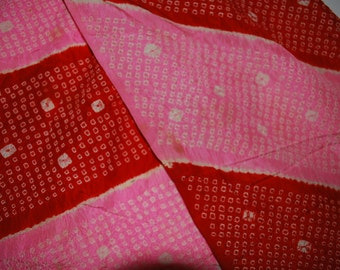 Silk Obi Scarf with Blossoms in Red & Pink