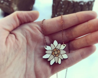 Wooden Necklace - Edelweiss Flower
