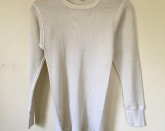 Vintage Kids Boys Hanes Thermal Knit Shirt Long Sleeve M Ivory Cream