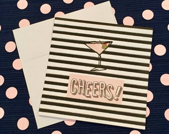 Cheers - Martini - Greeting Card and Envelope - New Job - New House - Birthday - Modern - Congratulations
