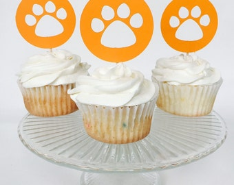 Paw Print Cupcake Topper - Dog Party - Birthday Party - Sports Team Party - Orange - Party Decorations - Cake Topper - Dog Cake