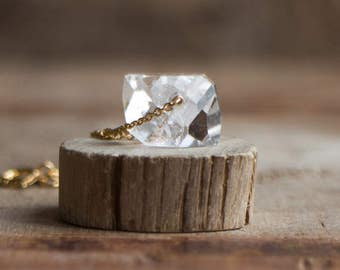 Herkimer Diamond Necklace in Silver or Gold, April Birthstone, White Raw Crystal Necklace, Clear Crystal Jewelry, Rough Stone Jewellery