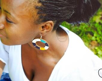 African earrings, African jewellery ethnic earrings ethnic jewelry, gipsy earrings Wooden earrings, blue hoops earrings, boho hoops earrings