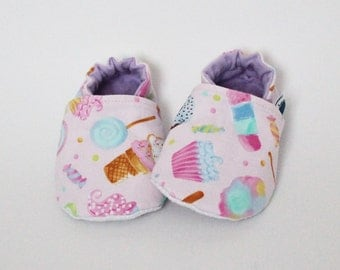 Baby slippers, Crib shoes, Candies, Pink, Lolipop, Ice cream, Cupcake, Cotton, Soft soles, Moccasins, Toddler, Shower gift idea, Newborn