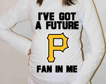 Pittsburgh Pirates Shirt Pittsburgh Pirates Baseball Long Sleeve Maternity Shirt Pregnancy Baby Shower