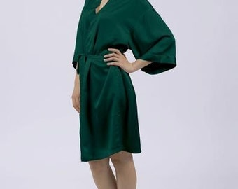 "Forest Green Dressing Gown/Robe available with optional customised diamante ""The Bride"", ""Mother of the Bride"" & ""Bridesmaid"" by Matchimony"
