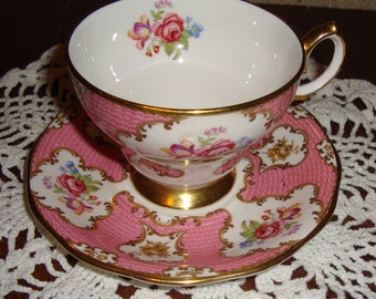 "Queen Anne ""Lady Eleanor"" - Fine Bone China England - Vintage Tea Cup and Saucer - Floral Sprays with Pink Panels and Gold Trim"