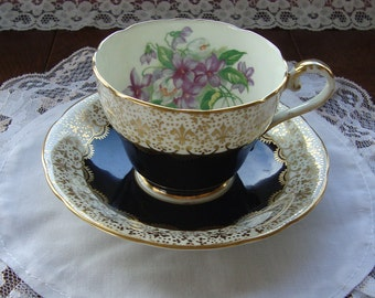 Aynsley - Bone China England - Vintage Scalloped Tea Cup and Saucer - Black Band, Gold Fleur de Lis Scrolls with Violet Bouquet