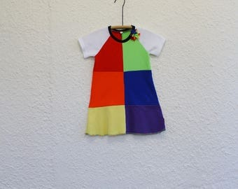 Rainbow Dress Girl's Size 3 made from Upcycled T Shirts, Recycled  Tshirt  Dress  has Rainbow Block Pattern, Child's Raglan Sleeve Dress