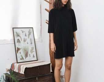 Minimal Black Pleat Oversized Dress with High Neck and Short Sleeve