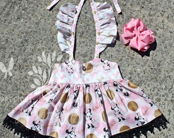 Toddler Girls Classic Minnie Mouse Tunic Top- Toddler Girls Flutter Sleeve Minnie Mouse Top- Minnie Mouse Shirt- Ready to ship size 2t
