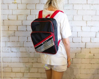 80s Backpack Sweden Black Napoleon Dynamite Style Bicycle Fast Flash Vroom