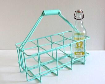 Mid Century Mint Green Bottle Rack - Vintage 1950s Bottle Holder - Kitchen, Wine Storage