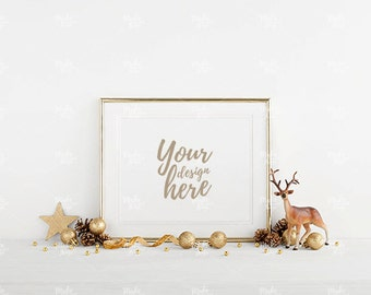 8x10 gold frame mockup / Styled stock photography / Instant download / Christmas / Holiday season / #4268
