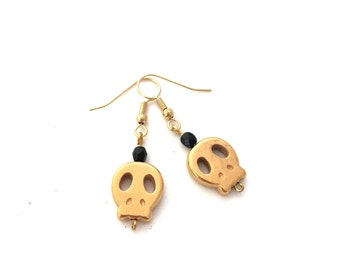 Skull Earrings - Gold Color Skull Earrings - Nickel Free Earrings - Gold Skull Earrings - Skull Jewellery - Nickel Free Jewellery