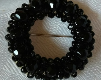HOBE Silvertone Circle Brooch Black Multifaceted Beads