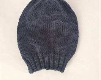 Slouchy Beanie Hand Knit, Lightweight Slouchy Hat, Hand Knit Hat, Spring Hat - Slate Blue (Adult)