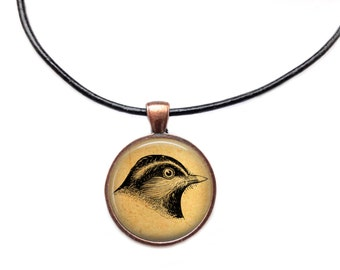 Bird head pendant Animal jewelry Antique necklace