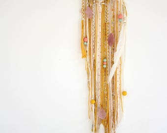 """DreamCatcher - Dreamcatcher """"Mausi"""" in shades of yellow, pink and white / / fabric Liberty / / wooden beads / / unique room"""