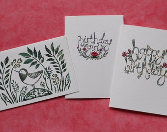 Birthday card set of 3 - hand lettering and lino cut designs