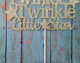 Twinkle Twinkle Little Star Cake Topper, Baby Shower Cake Topper, Twinkle Twinkle Little Star Theme, Gold Cake Topper