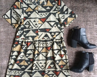 Womens Reworked Tribal Print Short Sleeved Dress
