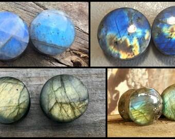 "Labradorite stone plugs A grade high flash 0g - 1-1/8"" Single or pair"