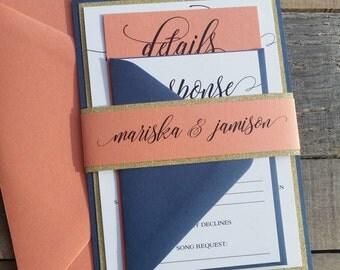 Navy Wedding Invitations, Navy Blue, Coral and Gold Glitter Wedding Invitations S012-Mariska