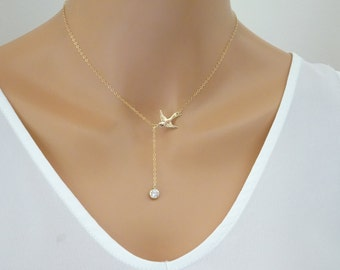 Bird lariat necklace, Dainty Y dove necklace, Flying bird necklace with CZ charm, Swallow Necklace, Sparrow Necklace, Small Bird Jewelry