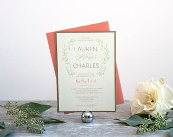 Rustic Foliage Wedding Invitation, Deposit to Get Started
