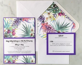 SAMPLE Tropical Wedding and Special Event Single Sided Invitation with RSVP and Lined Envelope