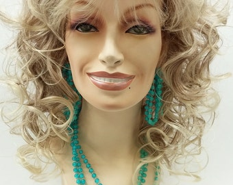 Long 18 inch Mixed Blonde Brown Curly Dolly Parton Style Wig. Stage Wig. Cosplay Wig. Festival Wig. [07-194A-Dolly-T12/613]