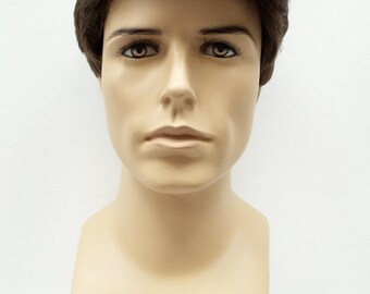 Men's Medium Brown Brushed Back Style Wig. Short Synthetic Fashion Wig. [64-334-George-8]