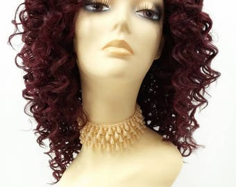 14 Inch Lace Front Dark Wine Red Curly Wig. Small Spiral Curls. Heat Resistant Synthetic Fashion Wig. [112-520D-Flora-DWine]